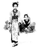 Antique dotprinted watercolor illustration of Japan: Young woman with mother