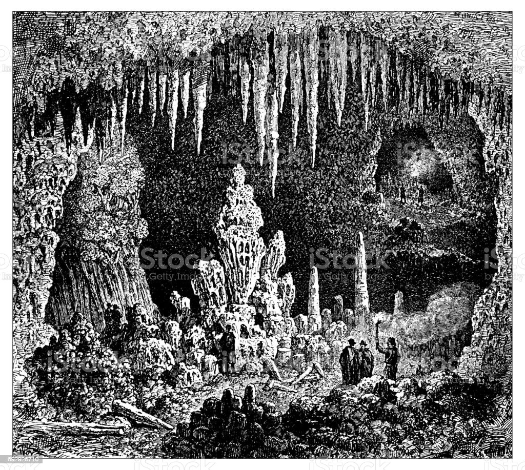 Antique engraving illustration: Cave of Antiparos vector art illustration