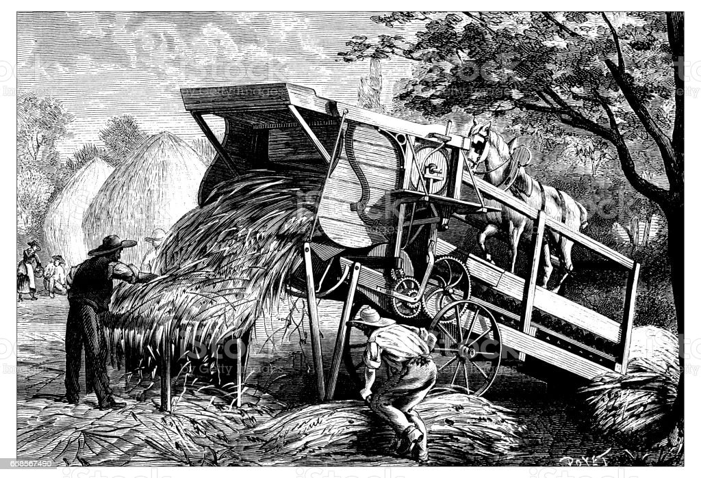 Antique engraving illustration: farm machinery vector art illustration
