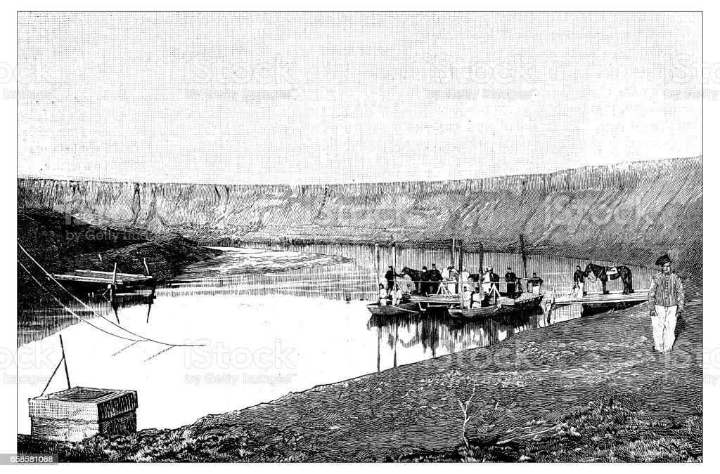 Antique engraving illustration: ferry in Tunisia vector art illustration