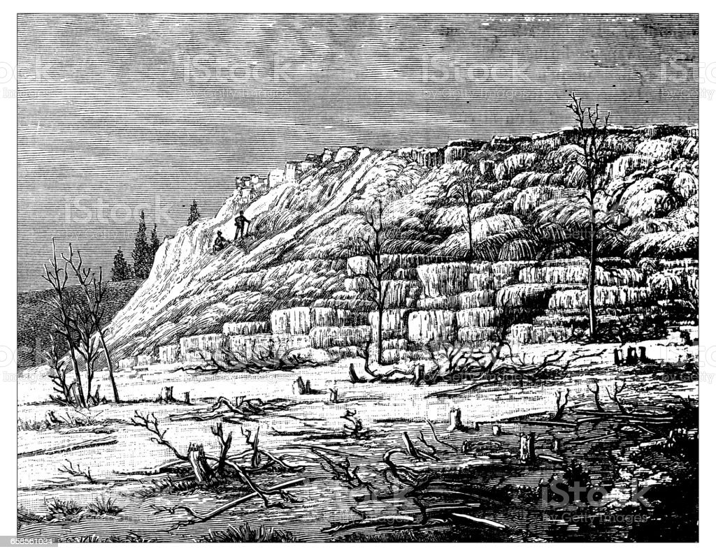 Antique engraving illustration: Yellowstone Park Pulpit Terrace Mammoth Hot Springs vector art illustration