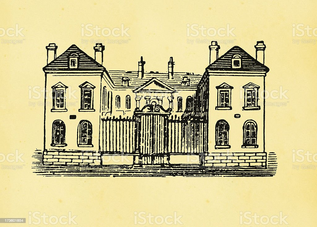 Antique Engraving - Mansion vector art illustration