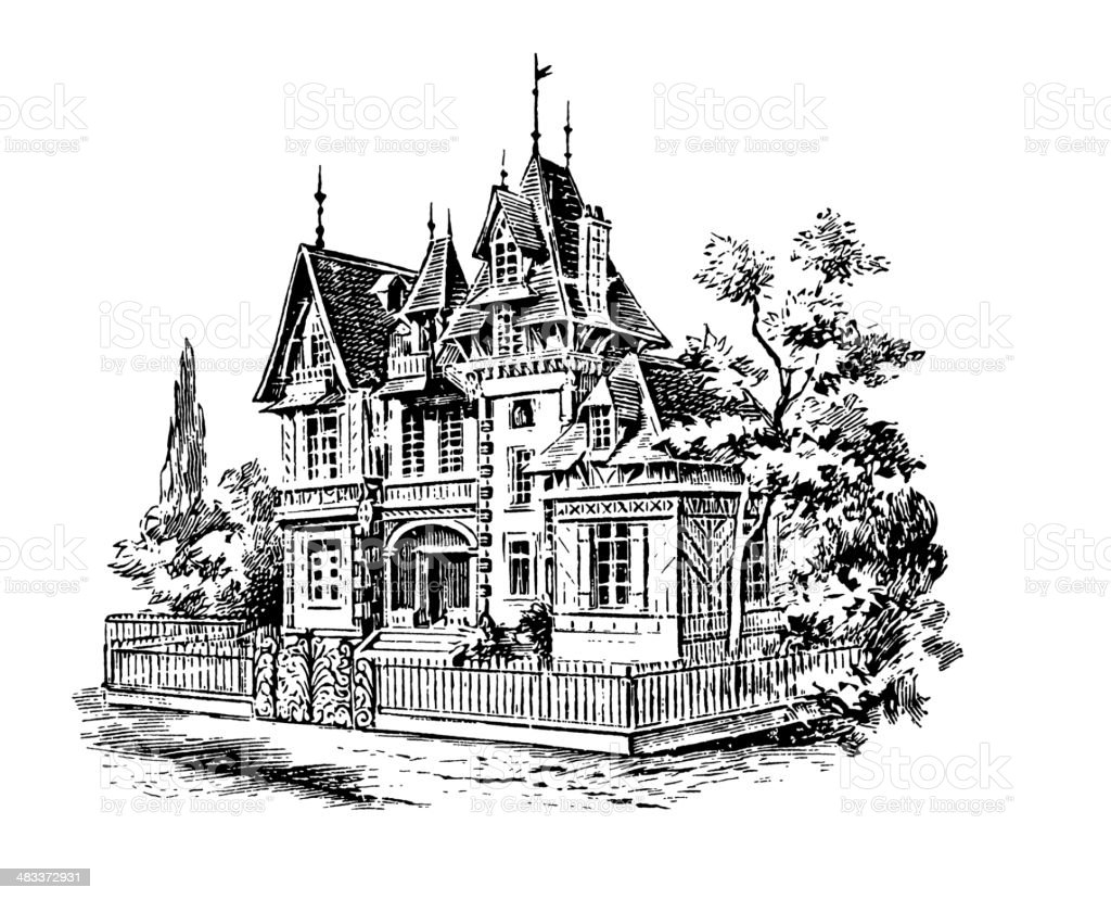 Antique Engraving - Mansion royalty-free stock vector art