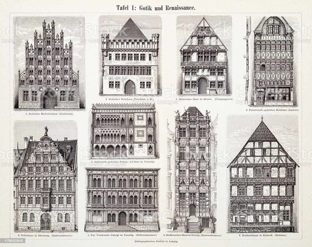 Antique European Buildings engraving 1897 vector art illustration