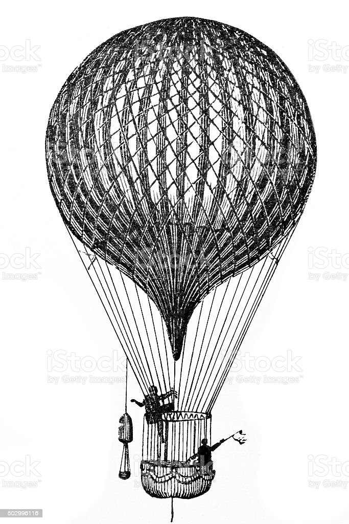 Antique Flying Balloon vector art illustration