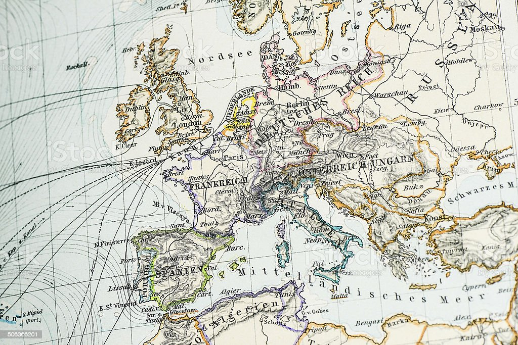 Antique German atlas map close up: Europe vector art illustration