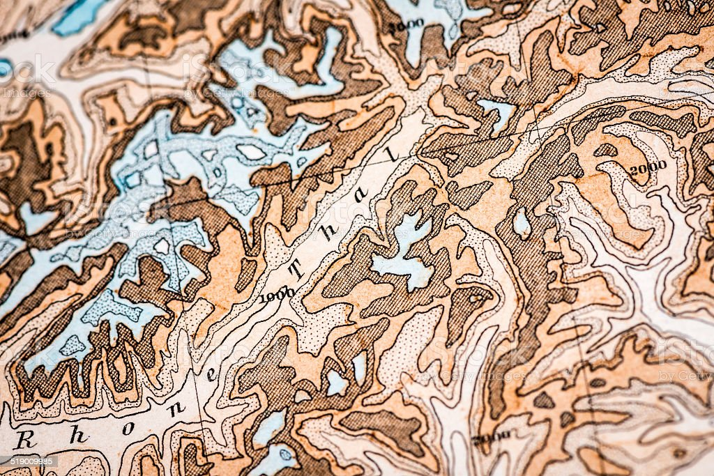 Antique German atlas map close up: Swiss mountains Alps vector art illustration