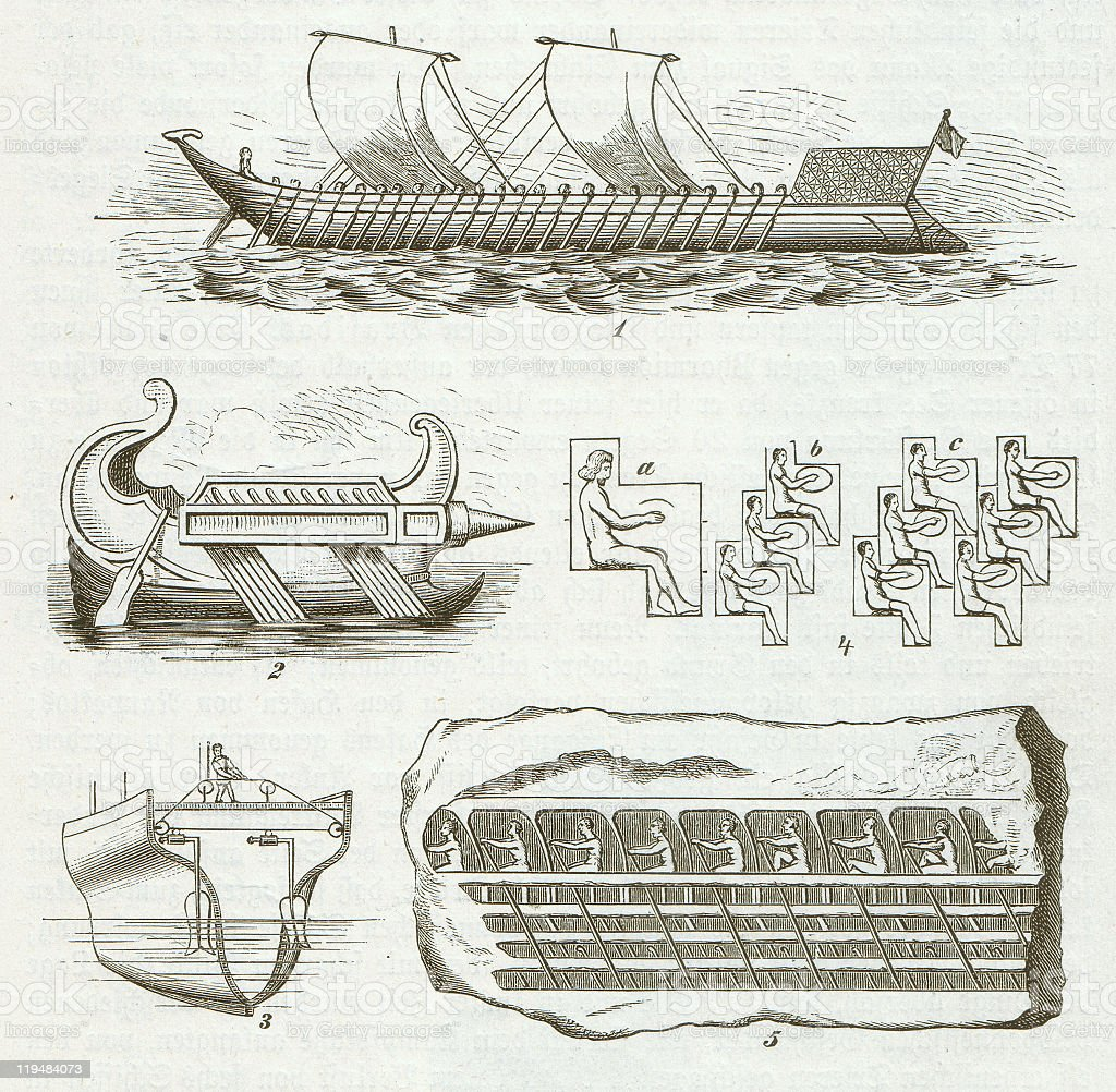 Antique Greek ships, wood engraving, published in 1882 vector art illustration