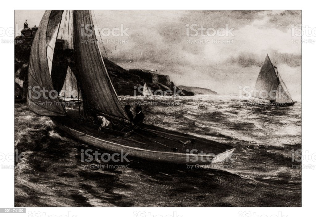 Antique hobbies and sports illustration: Yachting vector art illustration