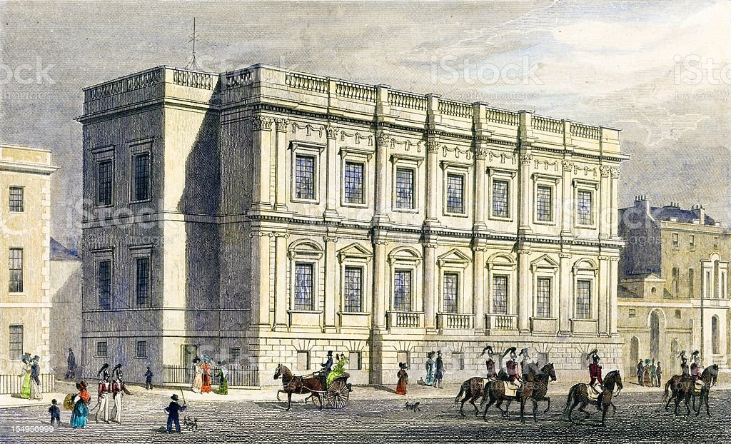 Antique illustration: Banqueting House, Whitehall, London (1829) vector art illustration