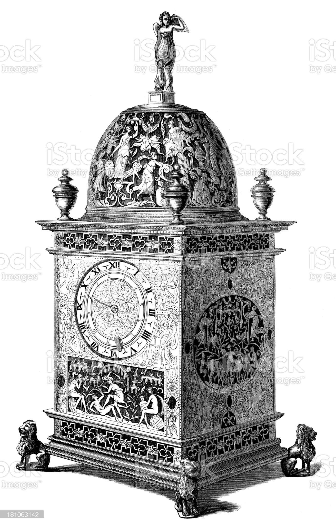 Antique illustration of 1600 clock royalty-free stock vector art
