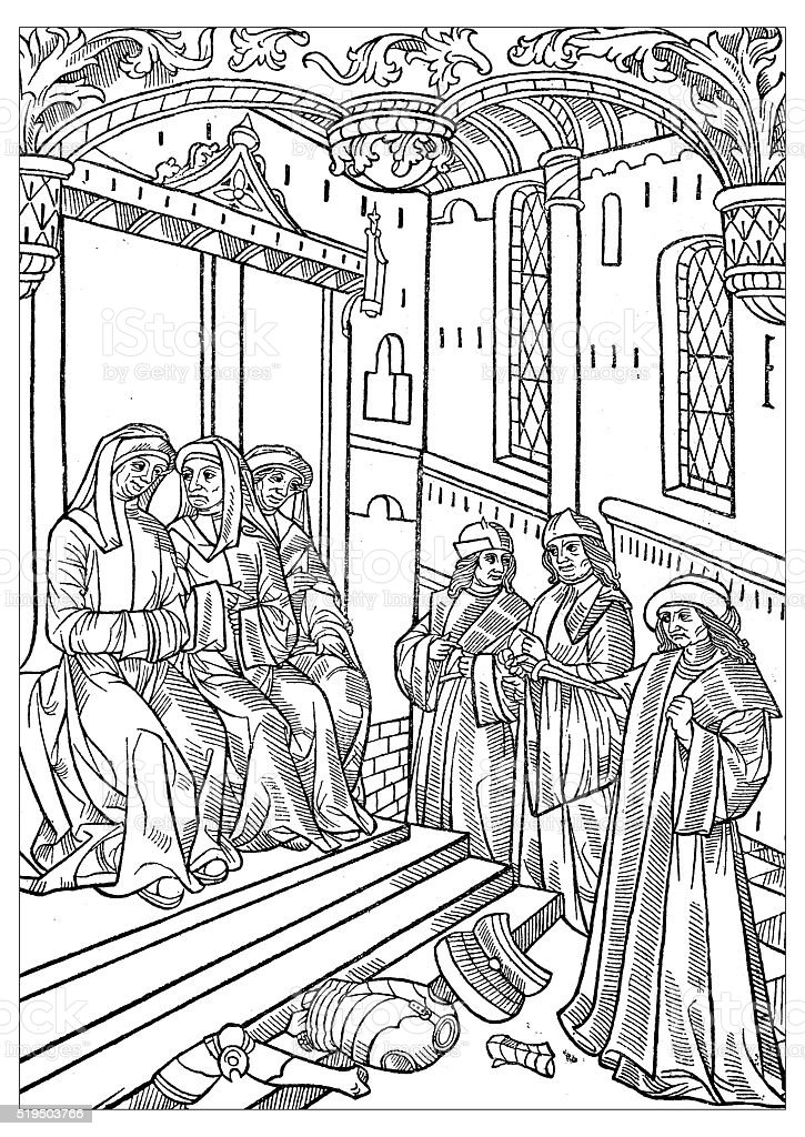 Antique illustration of 16th century manuscript illustration vector art illustration