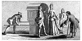 Antique illustration of 17th-18th century lady with litter