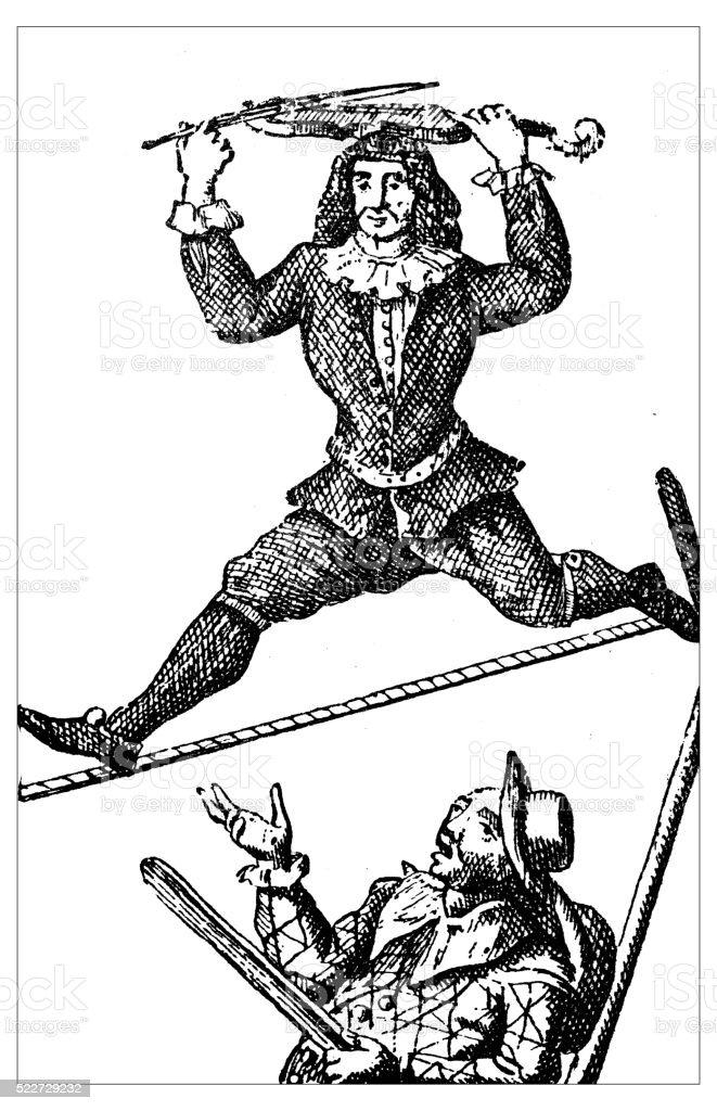 Antique illustration of 18th century acrobat on the tightope (Slacklining) vector art illustration