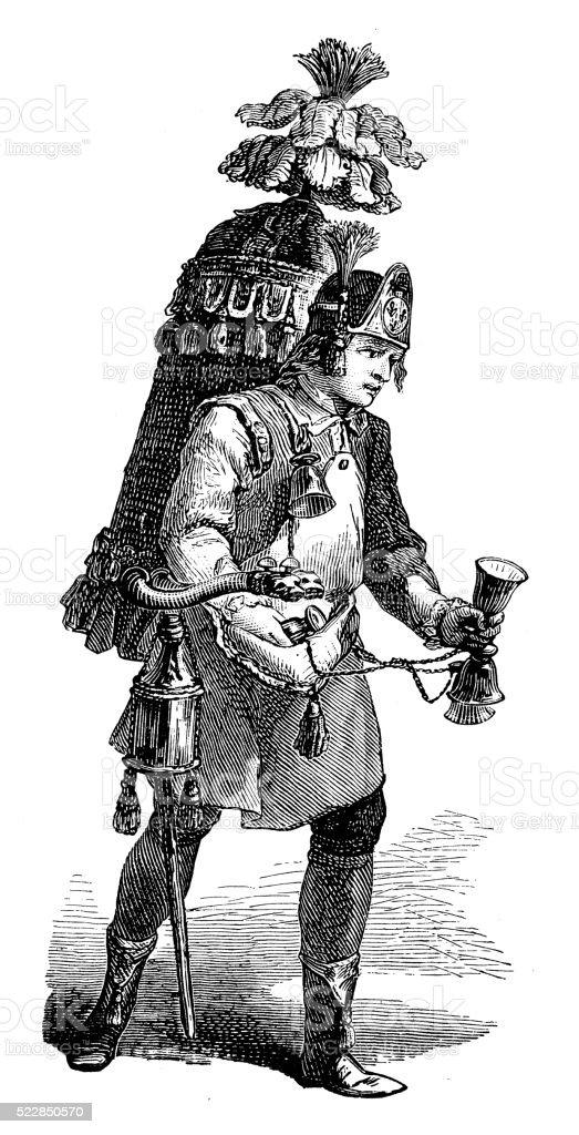 Antique illustration of 18th century ambulant herb tea seller vector art illustration