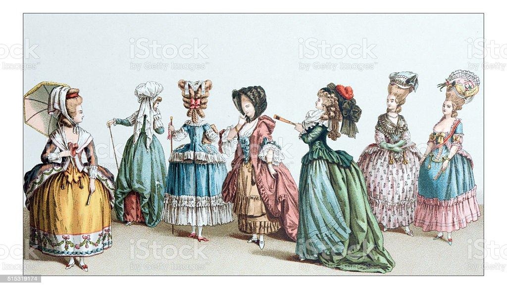 Antique illustration of 18th century clothes vector art illustration