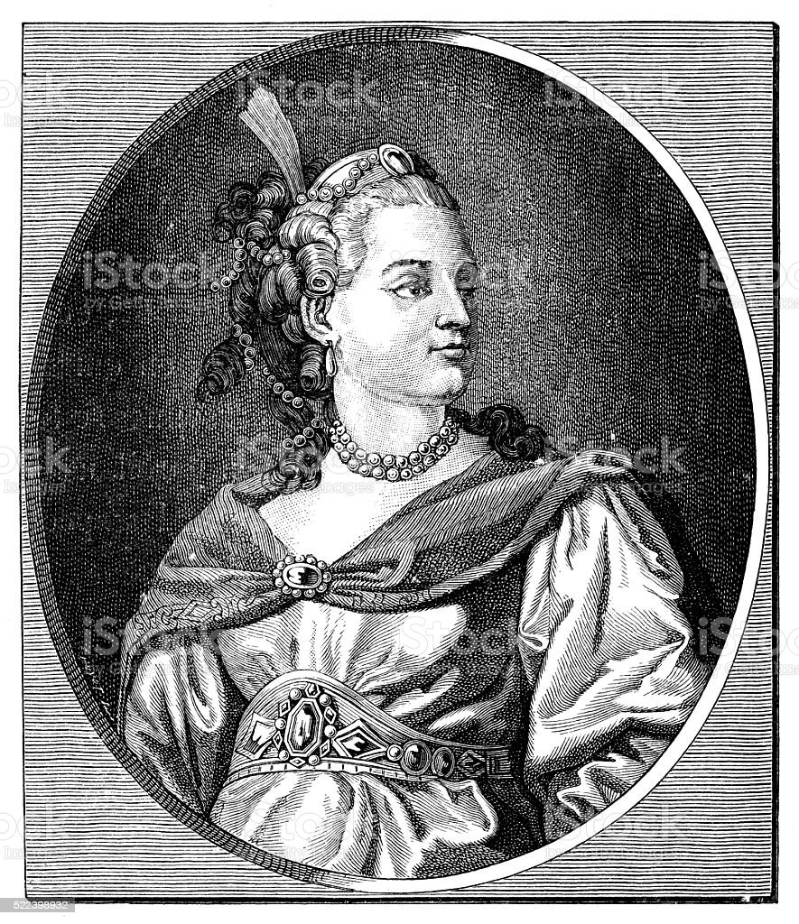 Antique illustration of 18th century French actress and tragedian Clairon vector art illustration