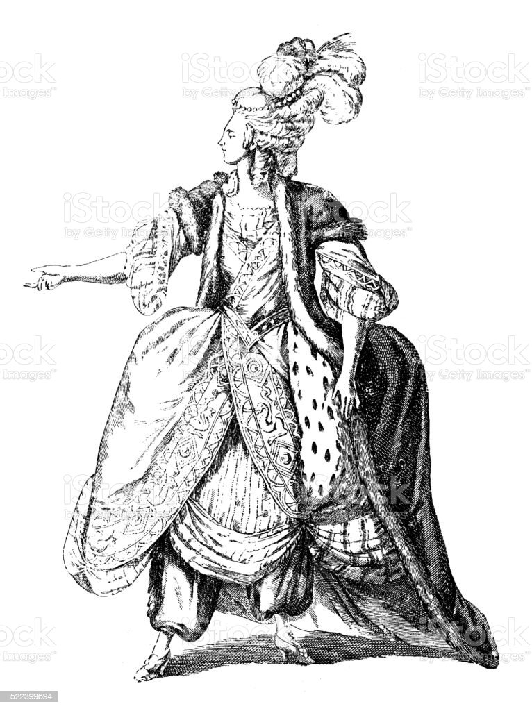 Antique illustration of 18th century French actress in stage costume vector art illustration