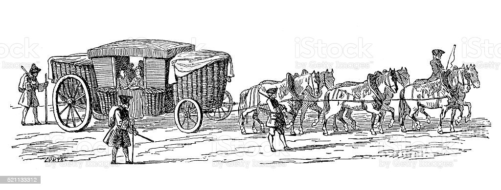 Antique illustration of 18th century French carriage called 'Pannier' vector art illustration