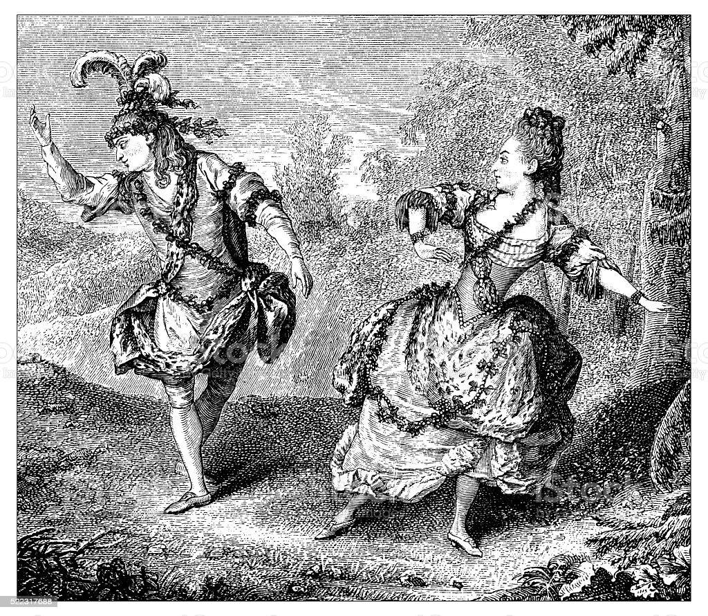 Antique illustration of 18th century French dancers performing on stage vector art illustration