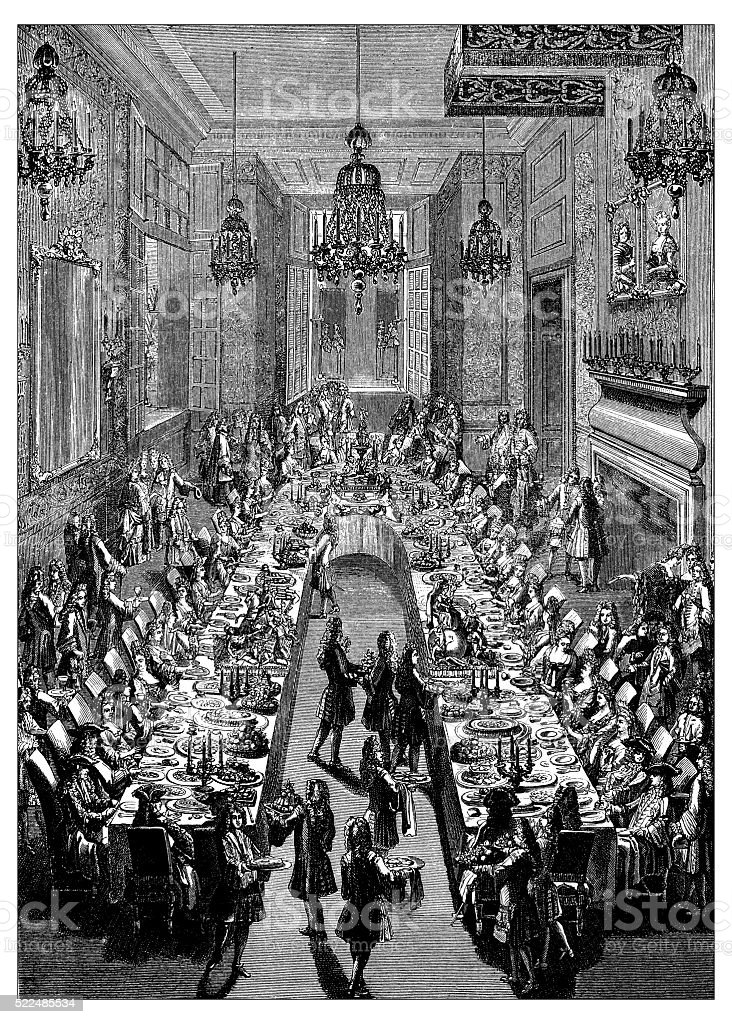 Antique illustration of 18th century French dinner at Spanish embassy vector art illustration