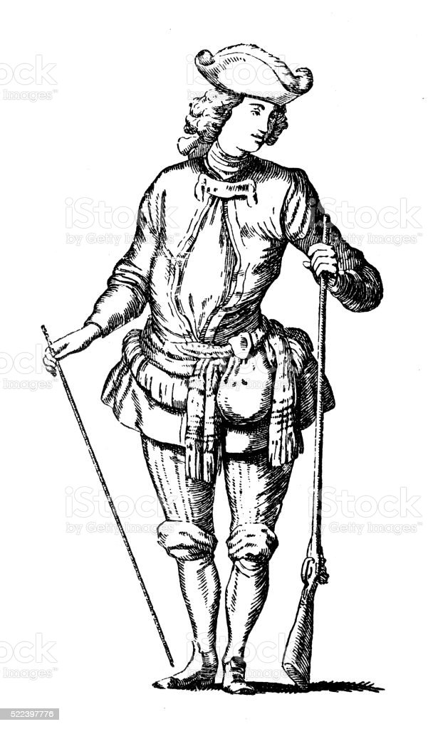 Antique illustration of 18th century French hunter stage costume vector art illustration