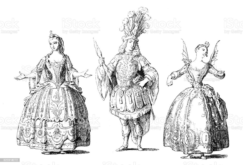 Antique illustration of 18th century French stage costume vector art illustration