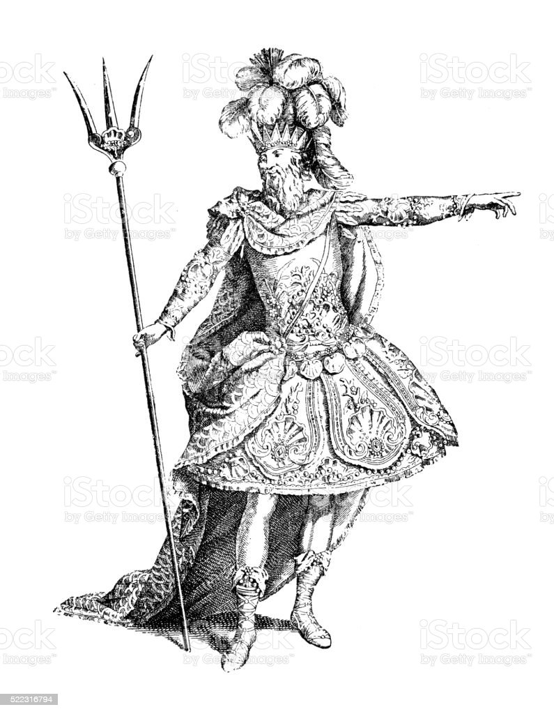 Antique illustration of 18th century French theatre costume of Neptune vector art illustration