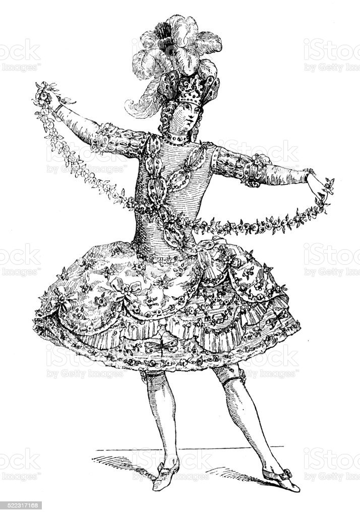 Antique illustration of 18th century French Zephyr ballet costume vector art illustration