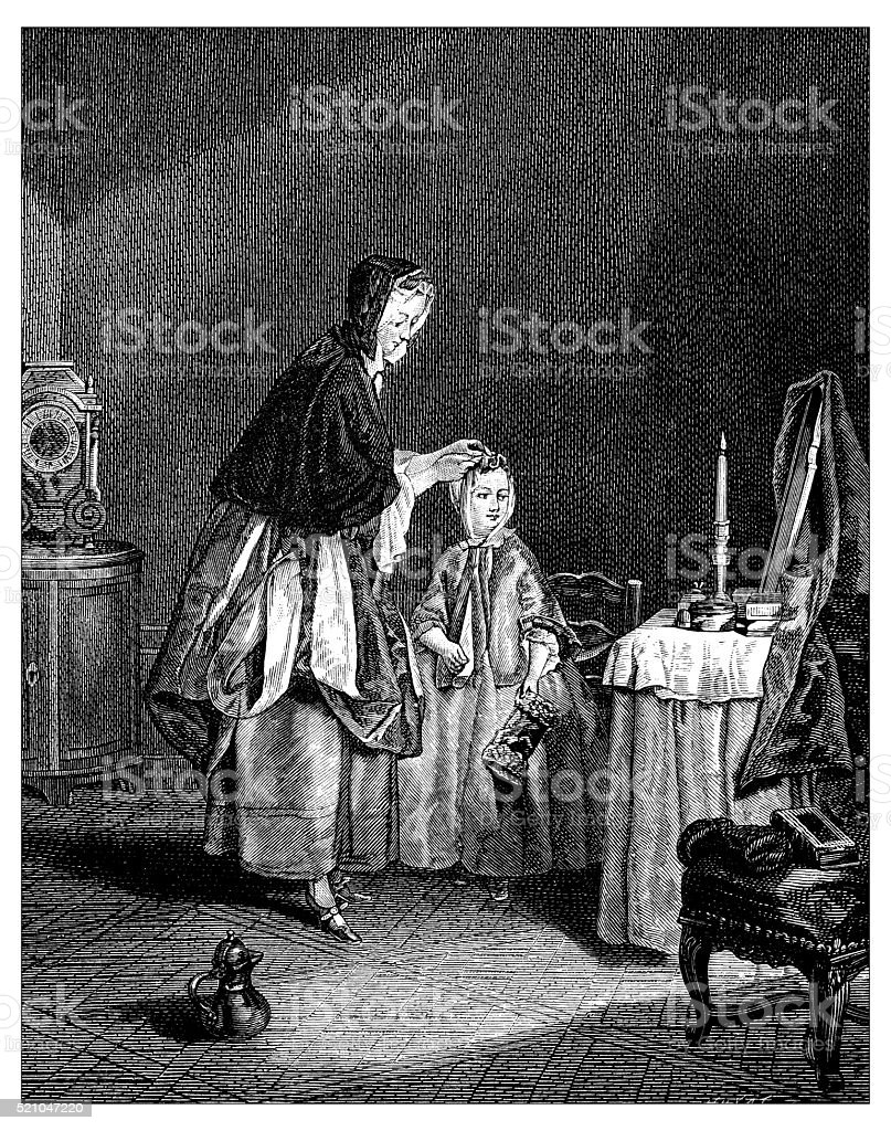 Antique illustration of 18th century Frenchchild getting dressed and combed vector art illustration