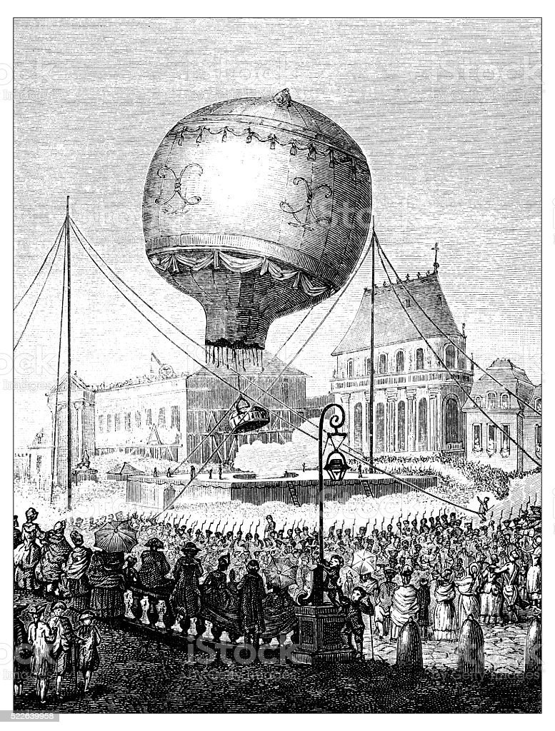 Antique illustration of 18th century hot-air balloon in the air vector art illustration