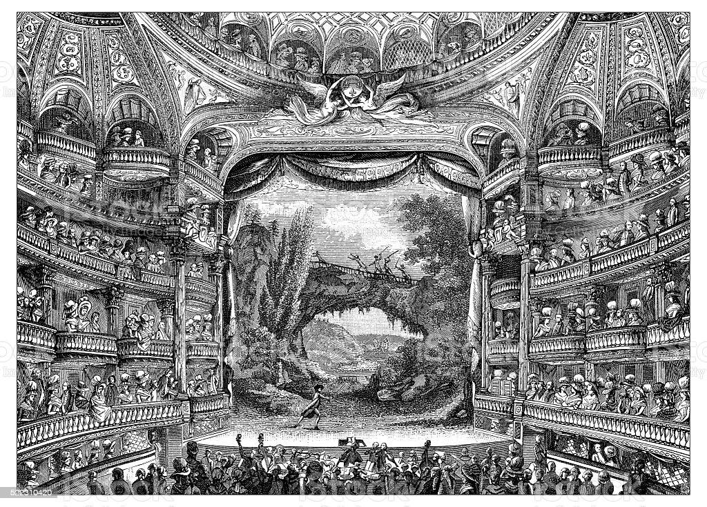 Antique illustration of 18th century interior of Paris theatre vector art illustration