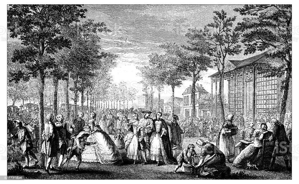Antique illustration of 18th century promenade (Parisian boulevard) vector art illustration