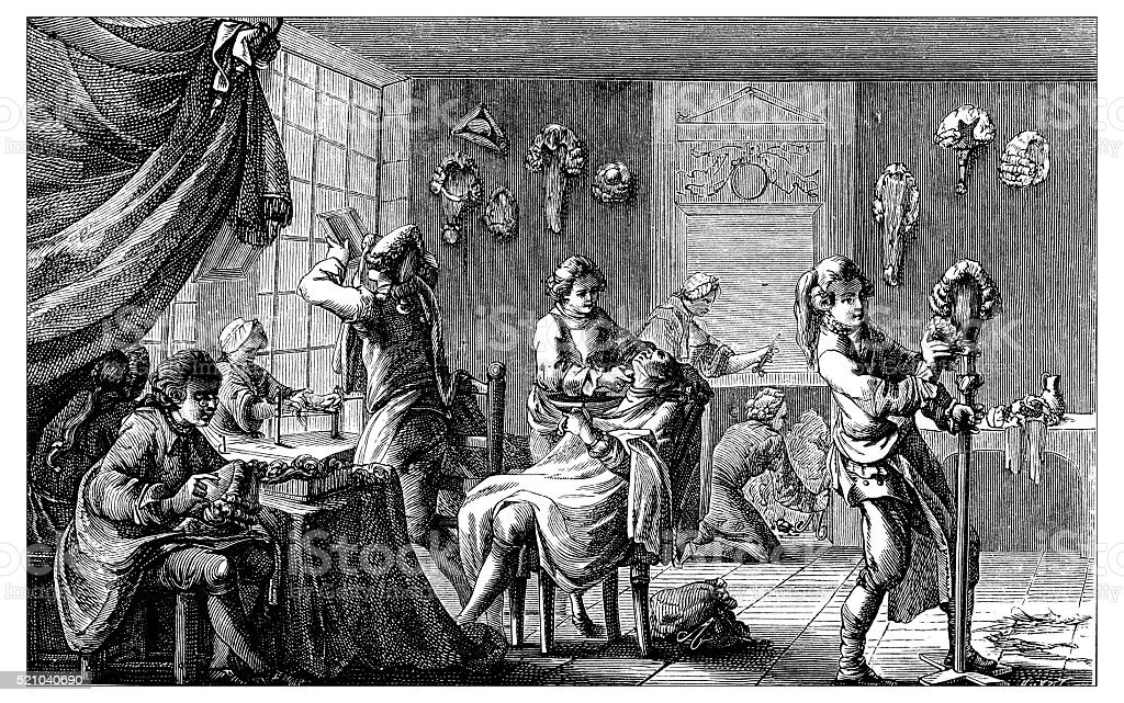 Antique illustration of 18th-19th century French barber shop vector art illustration
