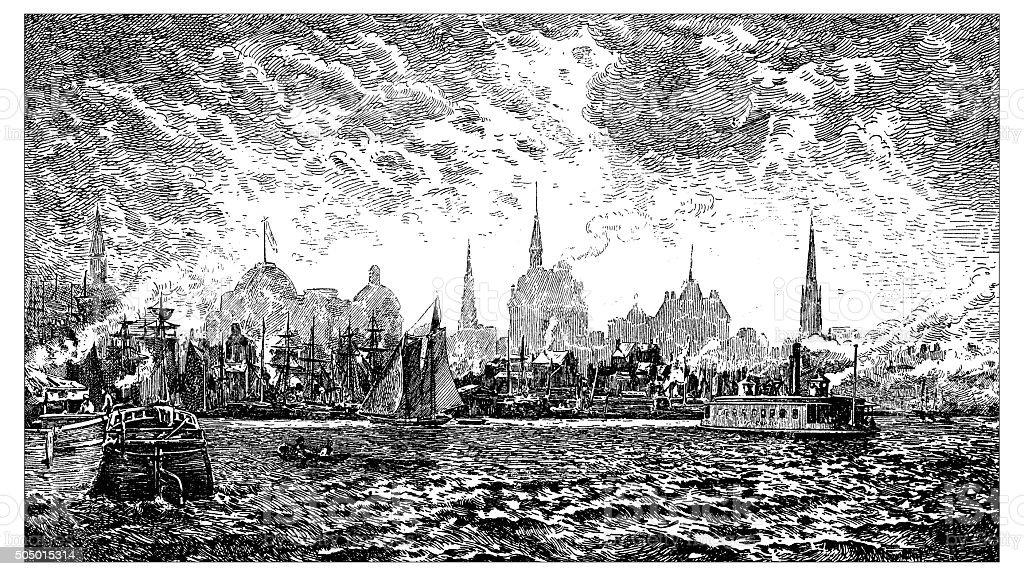 Antique illustration of 19th century New York harbor vector art illustration