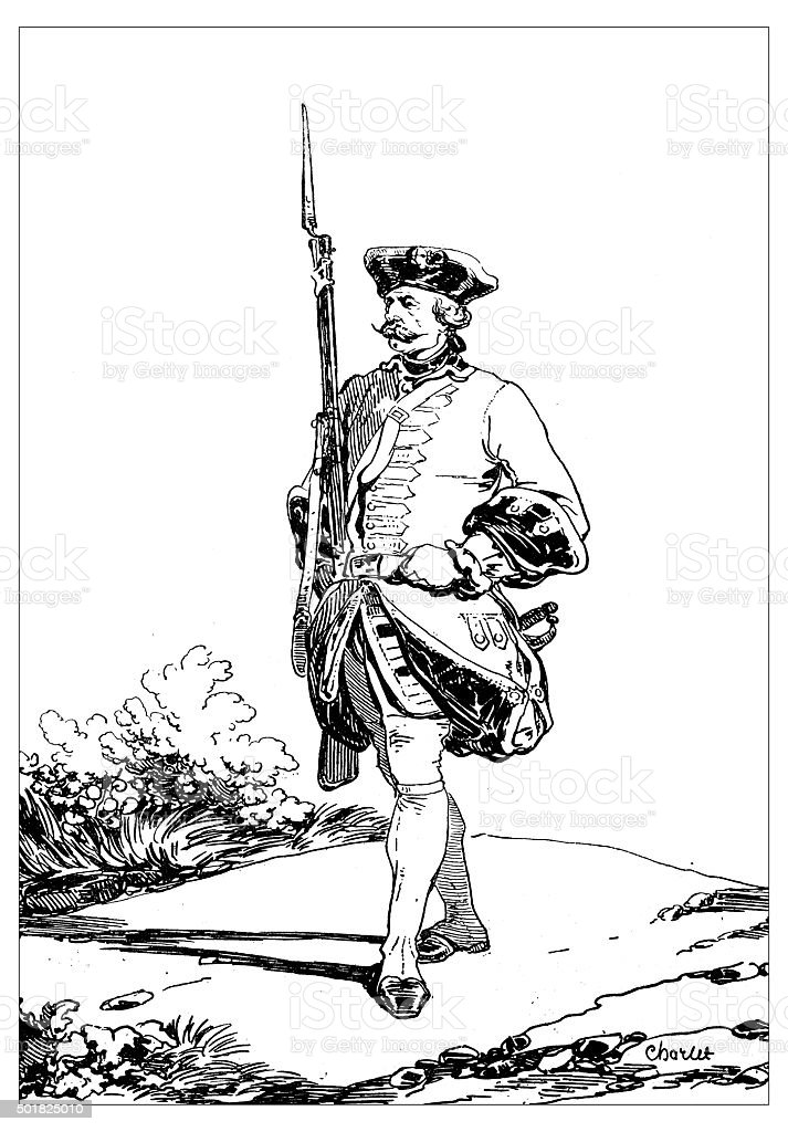 Antique illustration of a 19th century French sentry with bayonet vector art illustration