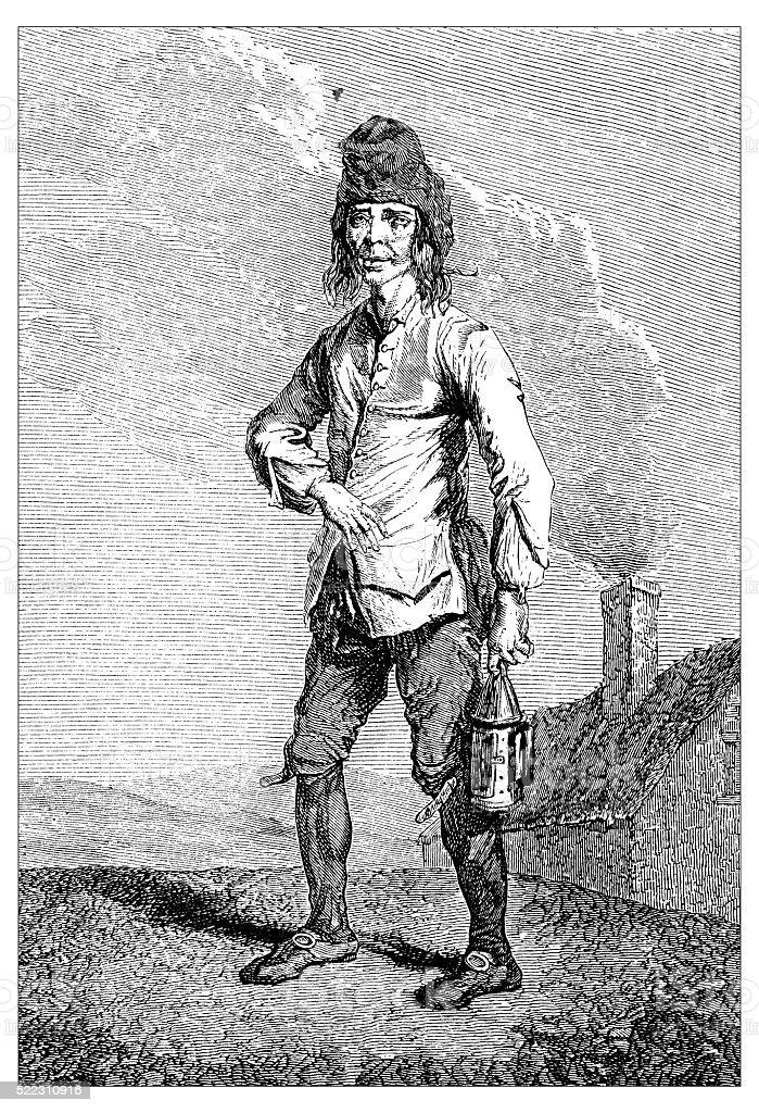 Antique illustration of actor performing 18th century French character Janot vector art illustration