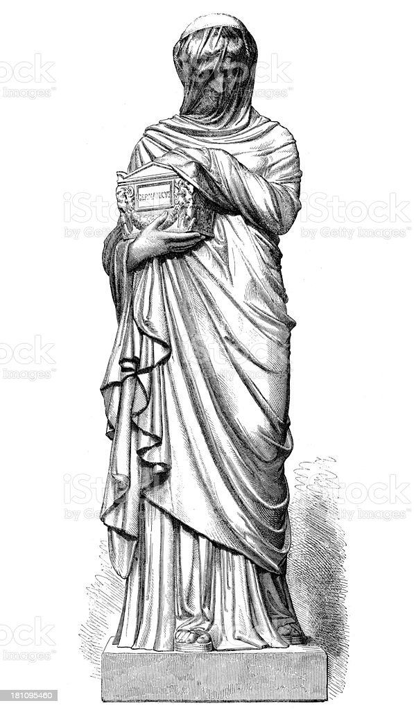 Antique illustration of Agrippina with Germanicus ashes statue royalty-free stock vector art