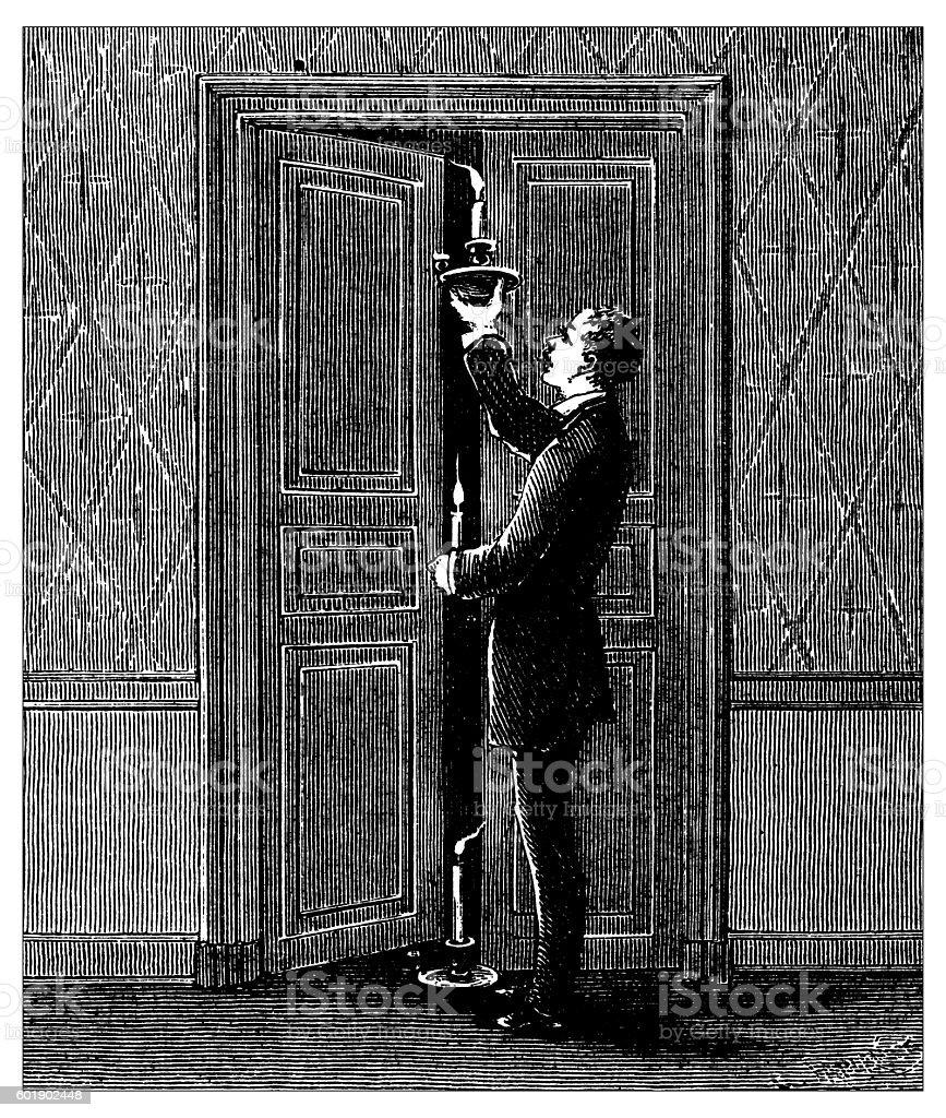 Antique illustration of air current experiment vector art illustration