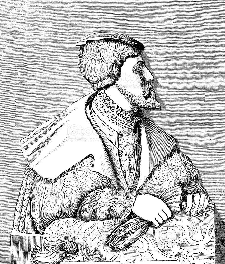 Antique illustration of alabaster statue vector art illustration