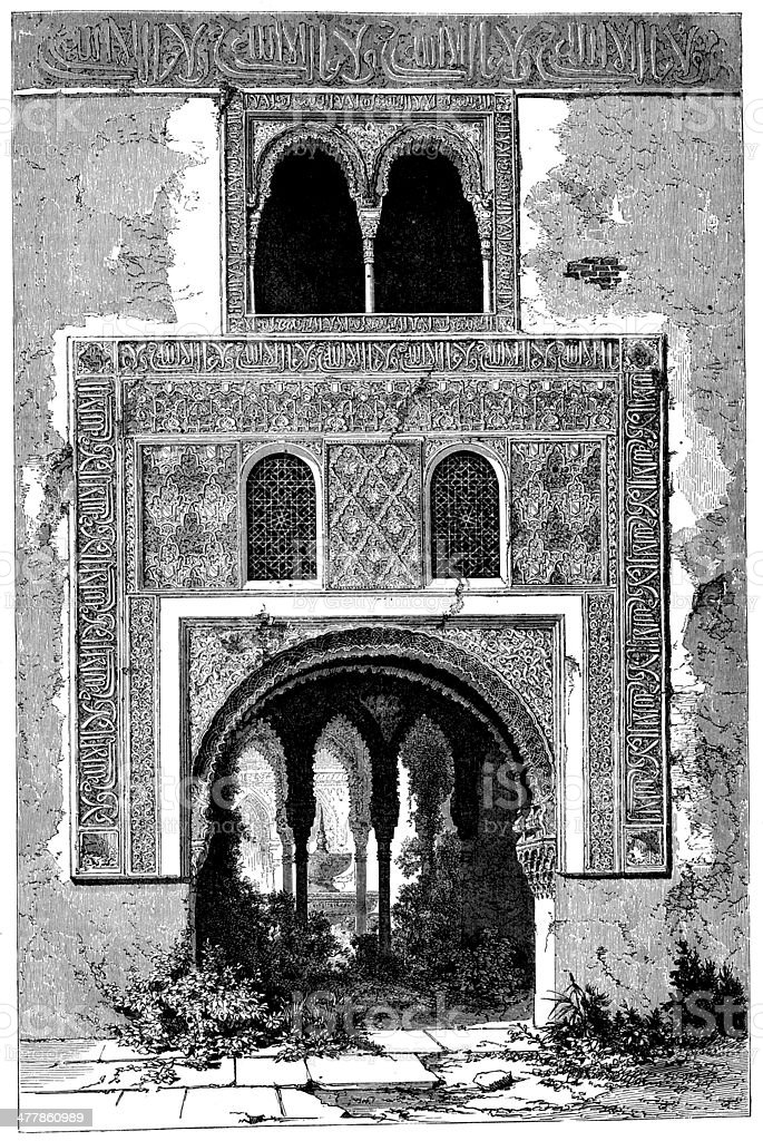 Antique illustration of Alhambra door royalty-free stock vector art