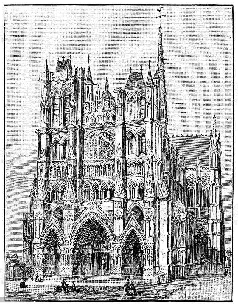Antique illustration of Amiens cathedral vector art illustration