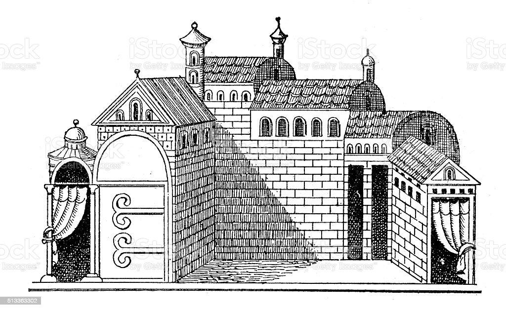 Antique illustration of ancient brick buildings vector art illustration