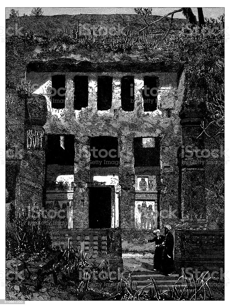 Antique illustration of ancient cavern in Bamyab area (Afghanistan) vector art illustration