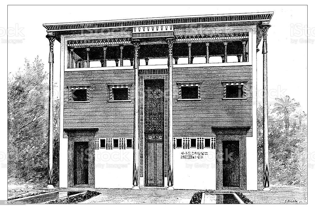 Antique illustration of ancient Egyptian house vector art illustration