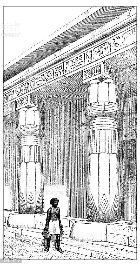 Antique illustration of ancient Egyptian outside a temple vector art illustration