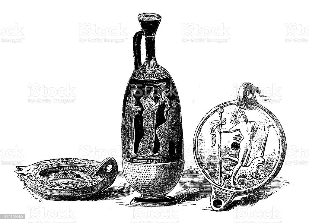 Antique illustration of ancient Greek oil lamps and vase vector art illustration