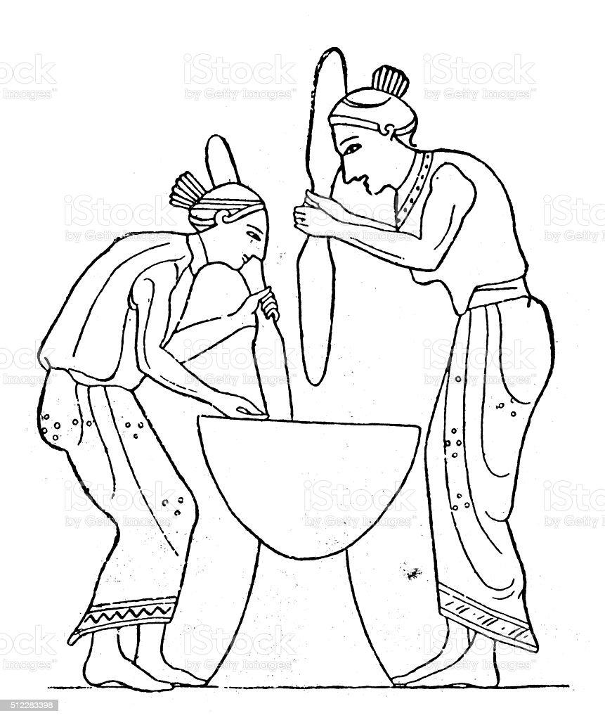 Antique illustration of ancient Greek women grinding weath grains vector art illustration
