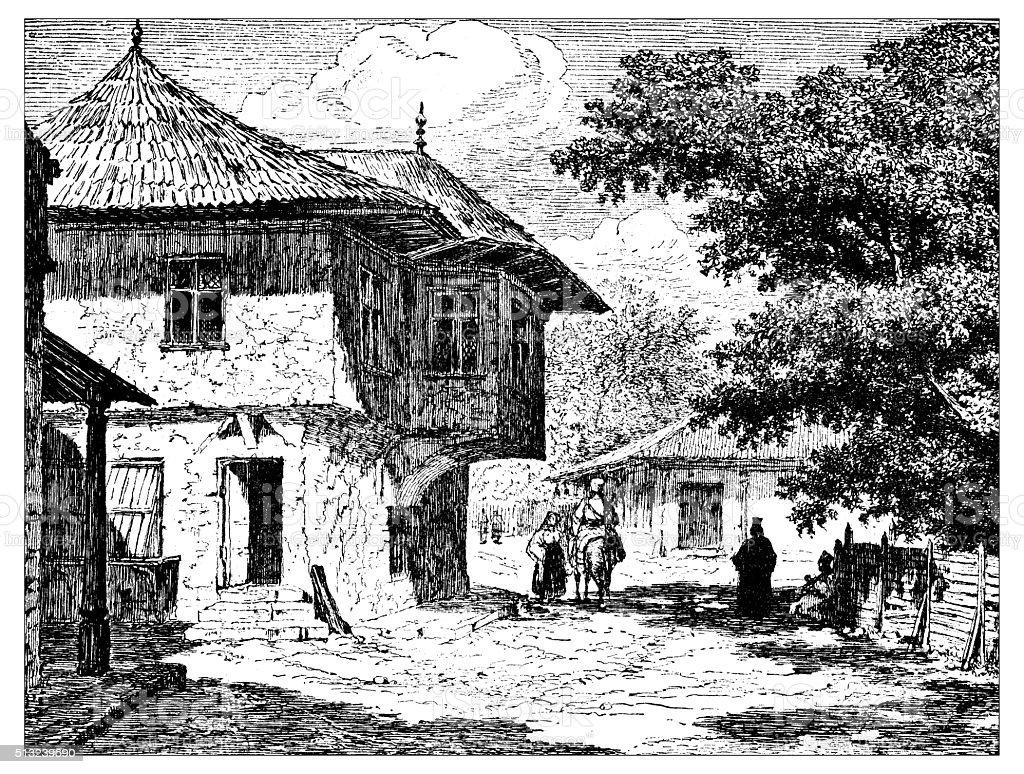 Antique illustration of ancient Ottoman house in Bucharest (Romania) vector art illustration