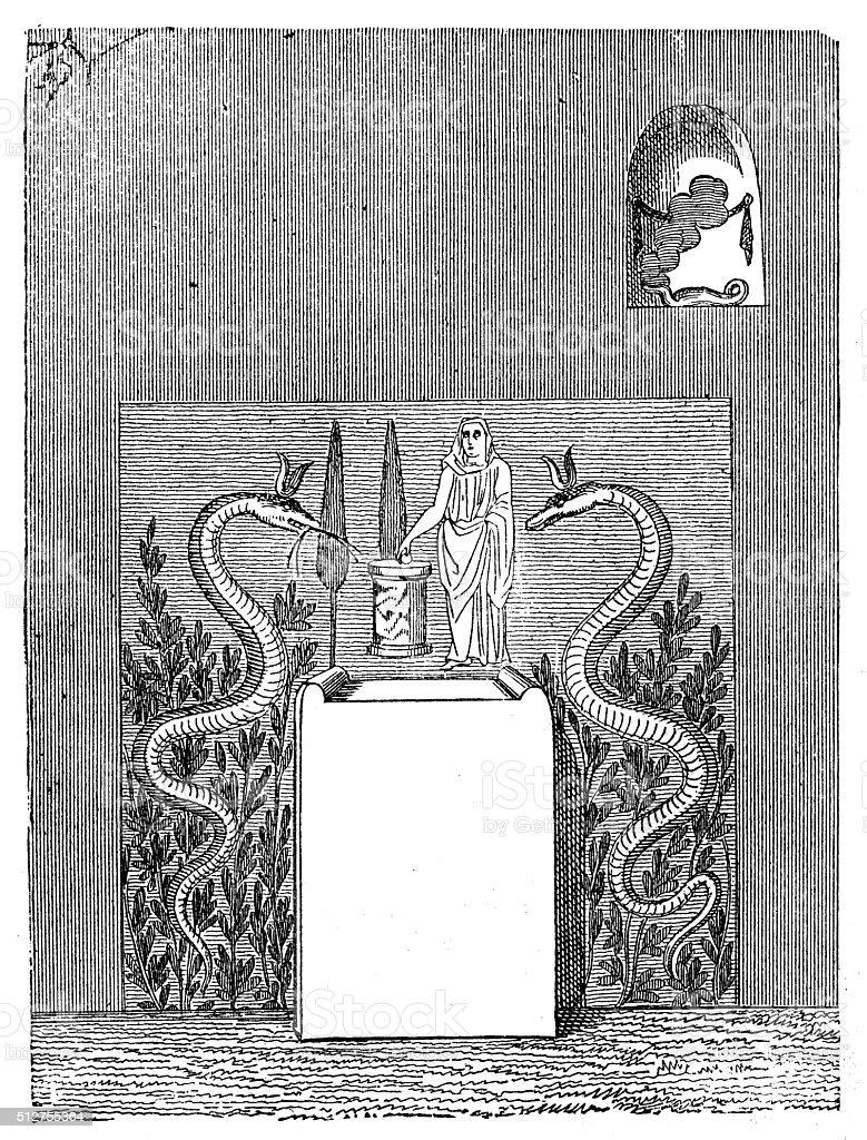 Antique illustration of ancient Roman domestic altar vector art illustration